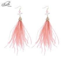 Badu Baroque Drop Earring Pink Feather Freshwater Pearl Pendant Vintage Long Dangle Earrings for Women Christmas Jewelry