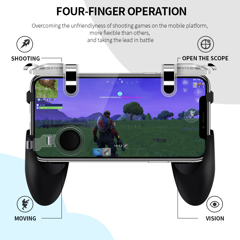 Data Frog Portable Gamepad Mobile Controller with Four Finger Operation Mode and Two Triggers for PUBG