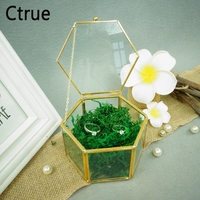 Geometrical Clear Glass Jewelry Box Jewelry Organize Holder flower boxes Ring Box wedding gift wedding decoration