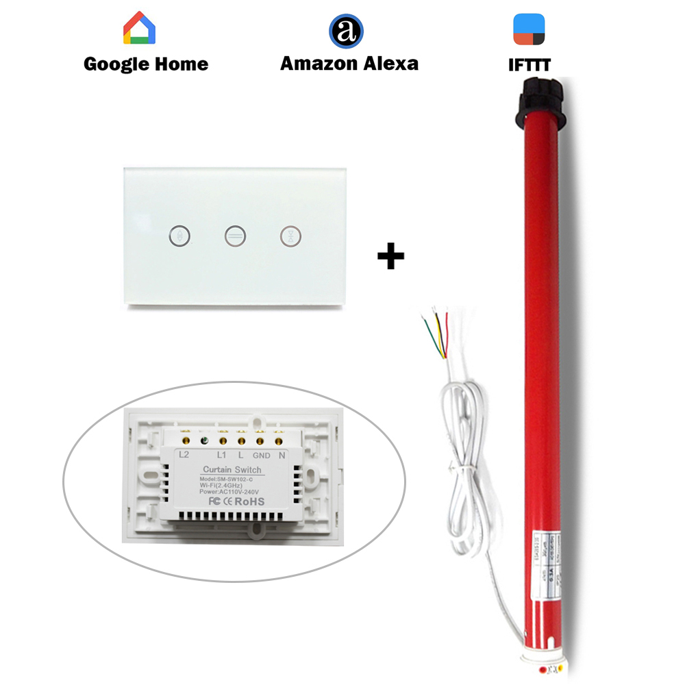 2018 Cortina Do Motor Com Chave inteligente para Alexa inicial do Google IFTTT Domótica interruptor de Controle Temporizador De Controle Aplicativo De Controle De Voz
