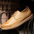 Dekesen Marca 2017 de Alta Calidad de Estilo Británico de La Vendimia Tallada Zapatos Casuales de Cuero Genuino de Los Hombres Negro Marrón Oxford Zapatos Para hombres