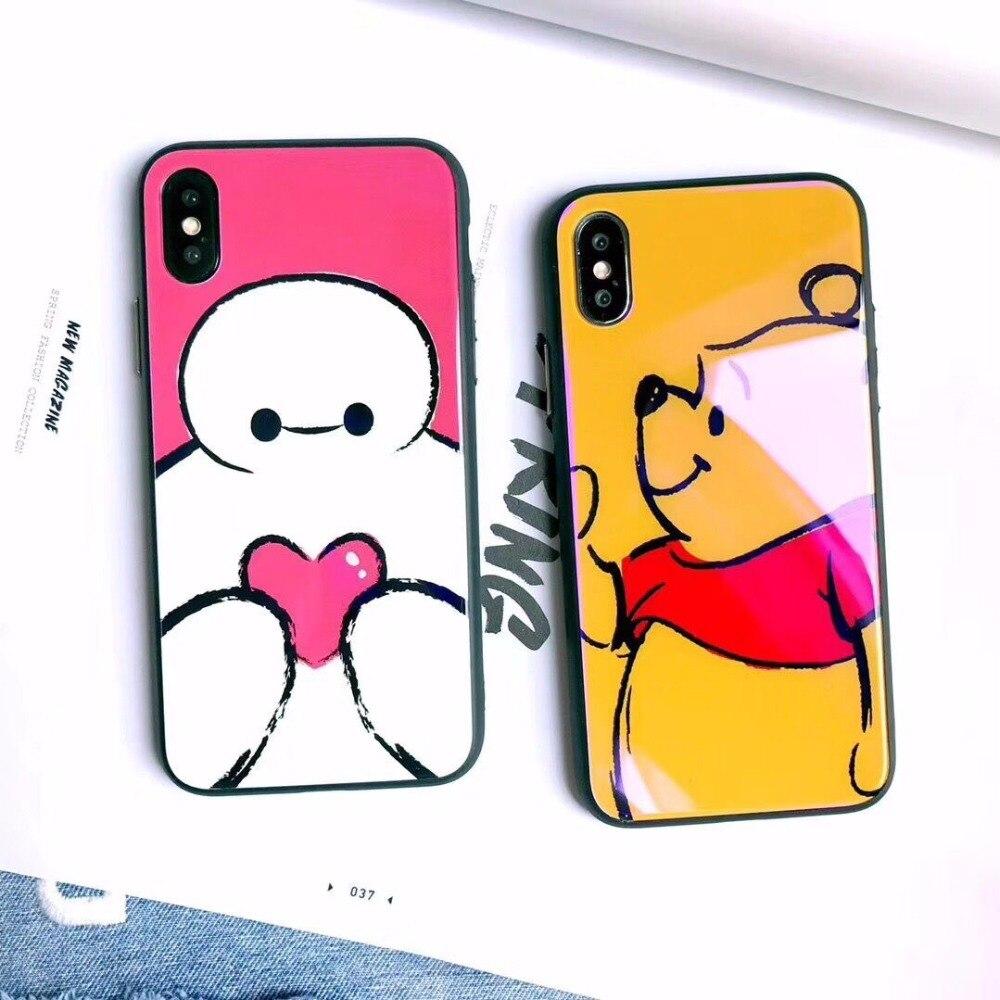 Cute Cartoon winnie pooh bear Phone Case for  iPhone 7 8 6 6s Plus X snowman love heart purple Ray Tempered Glass Cover winnie the pooh iphone case