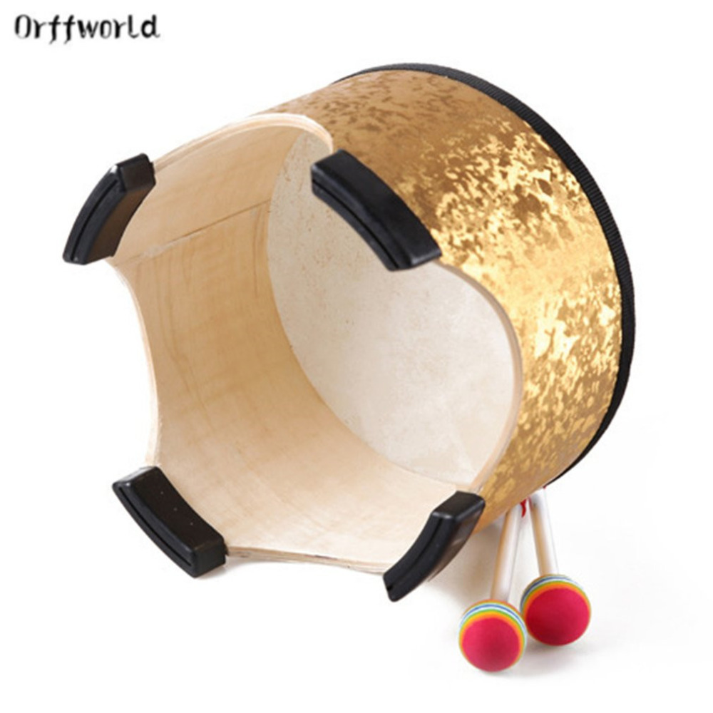 Orff world 40CM Golden Drum Wood Kids Early Educational Musical Instrument Percussion Instrument For Children Performance New children early education drum music educational instrument combination 5 joy woolly waist drum hand bell trumpet baby