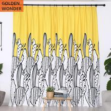 Modern Simple Pastoral Style Hand painted Cactus Curtains For Bedroom Door Living Room