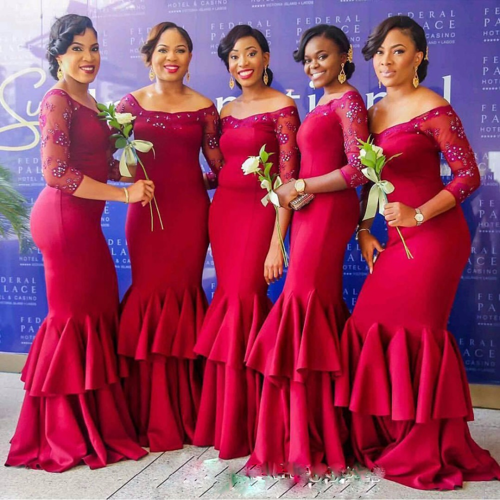 17f3c0c539 Sexy Nigerian Bridesmaids Dresses Mermaid with Sleeves Red Girl Lace Sexy African  Maid Of Honor Dresses For Weddings