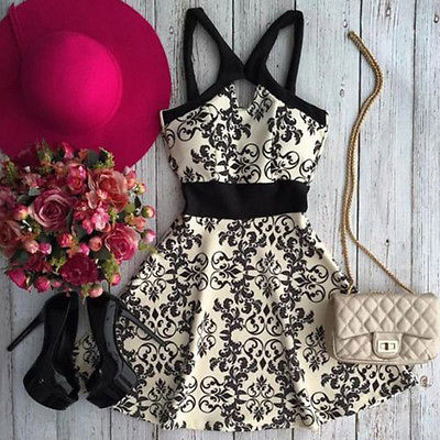 2018 New Arrival Women Summer Dress Sleeveless Floral Evening Party Beach Dress Short Mini Dress Hot