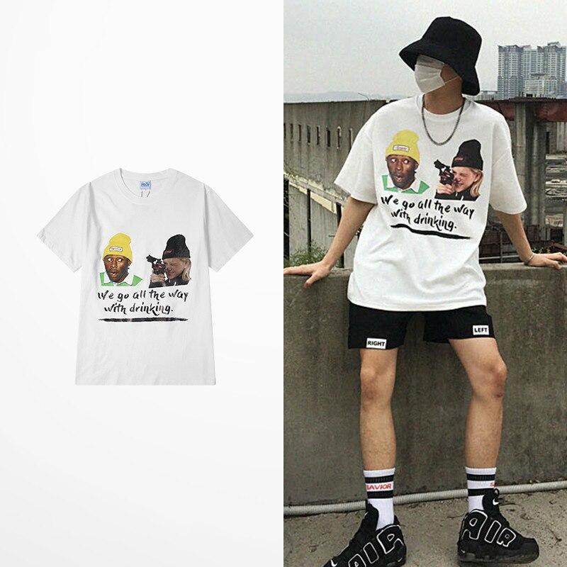 2019 verão retro spoof casa sozinho impressão t-shirts homens de alta rua skate engraçado t camisas casual wear harajuku trasher topo t