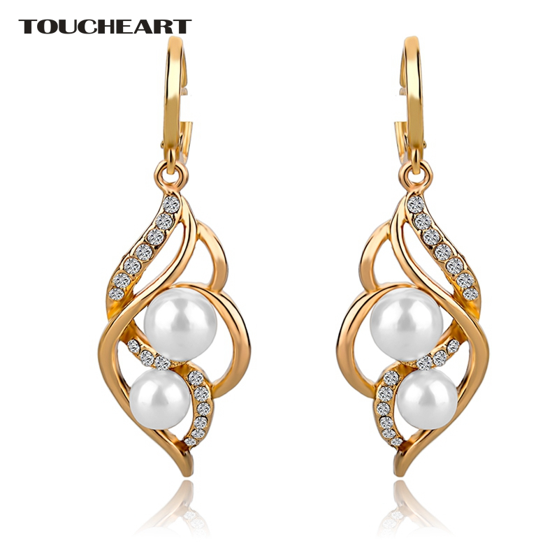 TOUCHEART Imitation Fancy Earrings Fashion Jewelry With Stones Big Gold color Pearl Earring For Women Pendientes SER140229