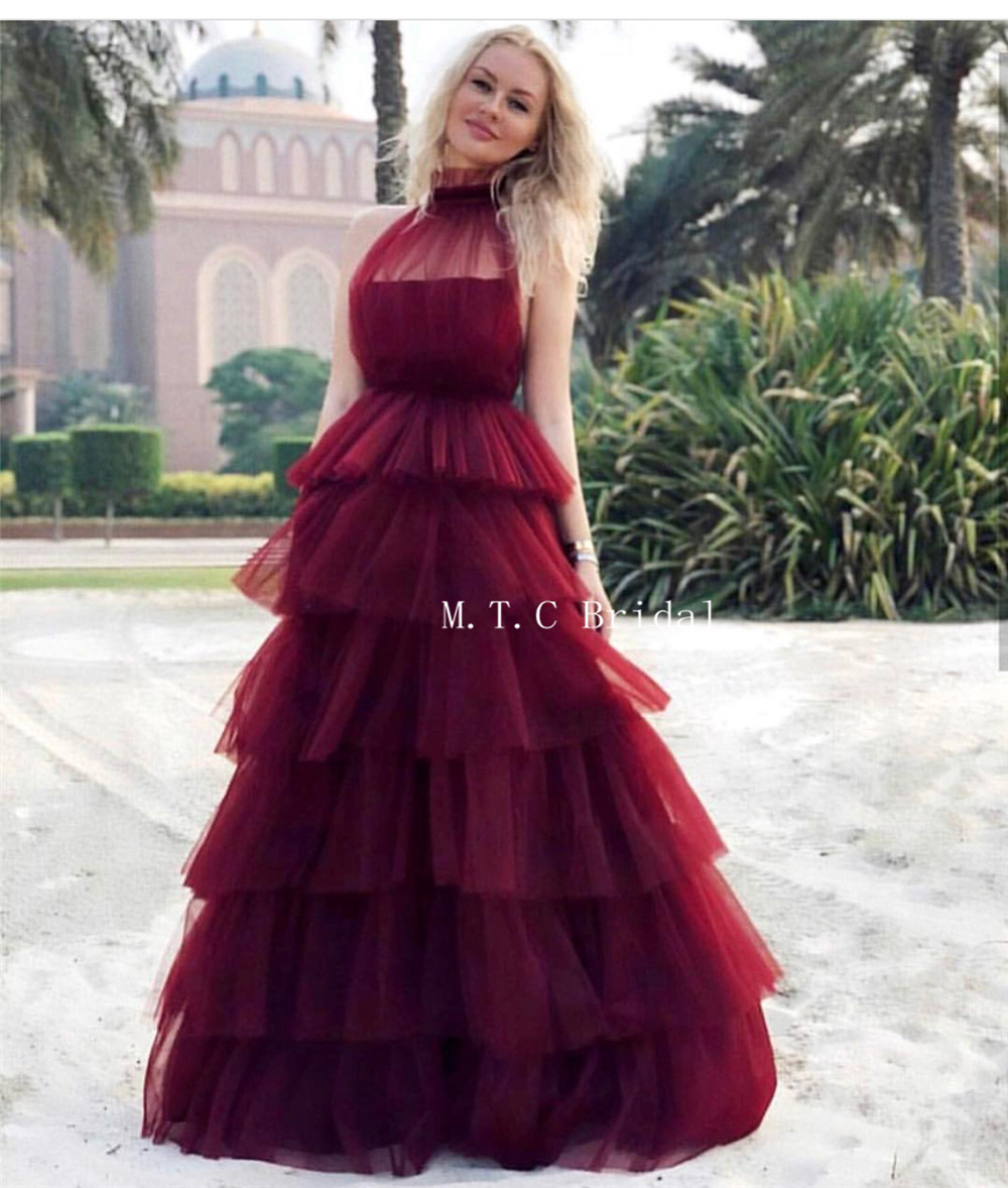 Burgundy Tiered Tulle A Line Long Evening Dress High Neck Floor Length Elegant Formal Prom Gowns