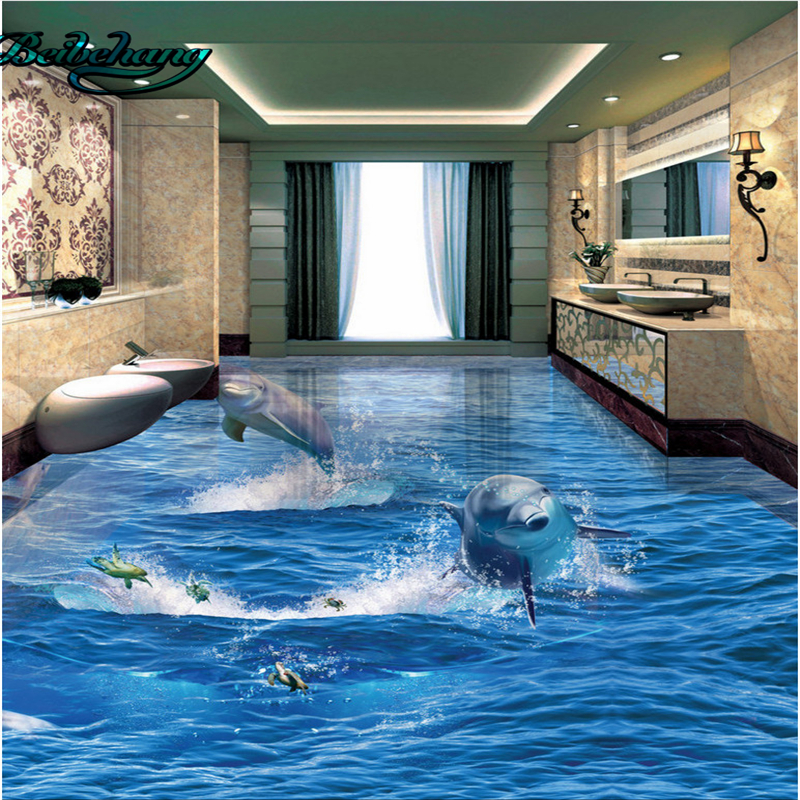 beibehang delphin aus dem ozean ozean 3d stereo badezimmer wohnzimmer bodenfliesen benutzerdefinierten hintergrund mural dekoration