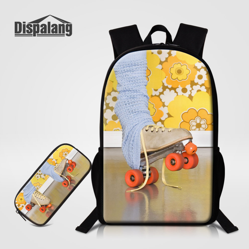 Dispalang 2pcs Children School Backpack With Pencil Case Ice skates Print Kids School Bags For Boy Girl Student Schoolbag