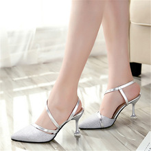 2018 spring heel High Heels Sandals lady Pumps classics slip on Shoes sexy Women party shoes gold silver Wedding Slingbacks 8cm