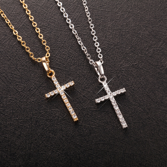 Ladsies Cross, Crystal Pendants Silver Chain Necklaces  1