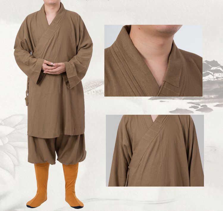 Unisex linnen & katoen lohan arhat suits Boeddhistische uniformen shaolin kung fu monniken gewaad zen boeddhisme kleding geel/grijs /kaki