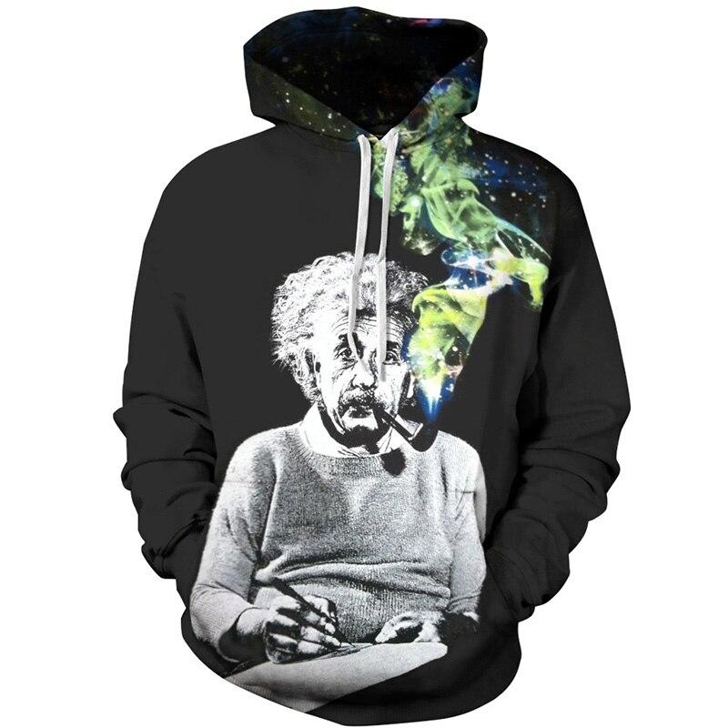 Cloudstyle 2017 3D Hoodies Men Funny Smoking Einstein Print Hoody Streetwear Sweatshirt Fashion Simple Design Pullover Tops