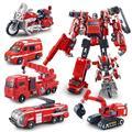 Deformation Movie 4 Robots Action Figure Toys ABS&Alloy Ambulance/Crane/Fire engine/ Excavator/Motorcycle Model