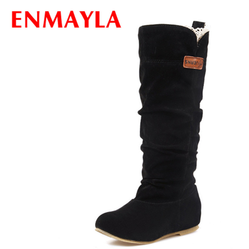 ENMAYLA Women New Fashion Boots Spring & Autumn Boots Size 34-46 Black Flats Shoes Woman Winter Warm Fur Mid-calf Boots Shoes ekoak new 2017 winter boots fashion women boots warm plush mid calf boots ladies platform shoes woman rubber leather snow boots