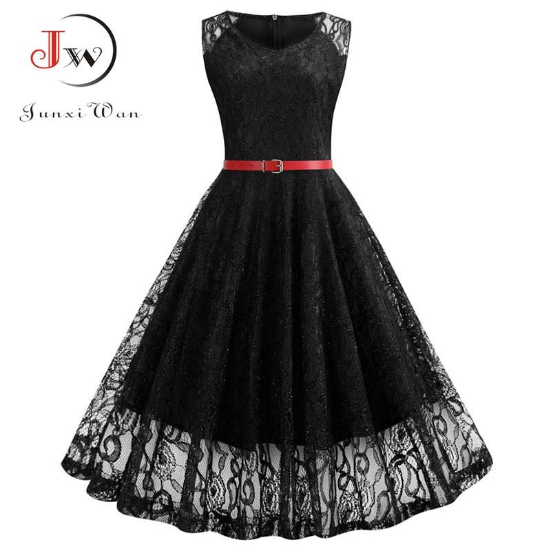 Black White Summer Lace Dress Plus Size Women Sleeveless Vintage Swing Elegant Red Midi Party Office Dress Robe Femme Vestidos 1