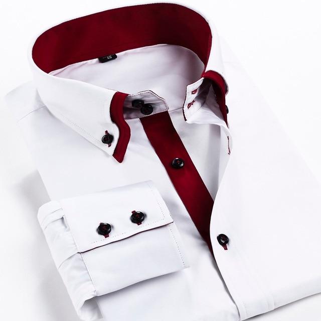 2017 новый мужской clothing Марка с длинным рукавом платье рубашка мужчин Двойной слой воротник случайные бизнес рубашки для мужчин Camisa Masculina