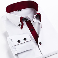 2014 New Men S Clothing Brand Long Sleeve Dress Shirt Men Double Layer Collar Casual Business