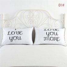 2PCS/SET New White Cotton Lovers/Couple Standard Throw Pillow Cases Home Bedroom