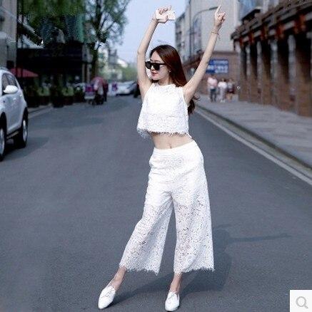 Nouveau 2018 été femmes haut court pantalon ensemble deux pièces tenue taille haute sans manches veste mode dentelle pantalon à jambes larges costume S M L