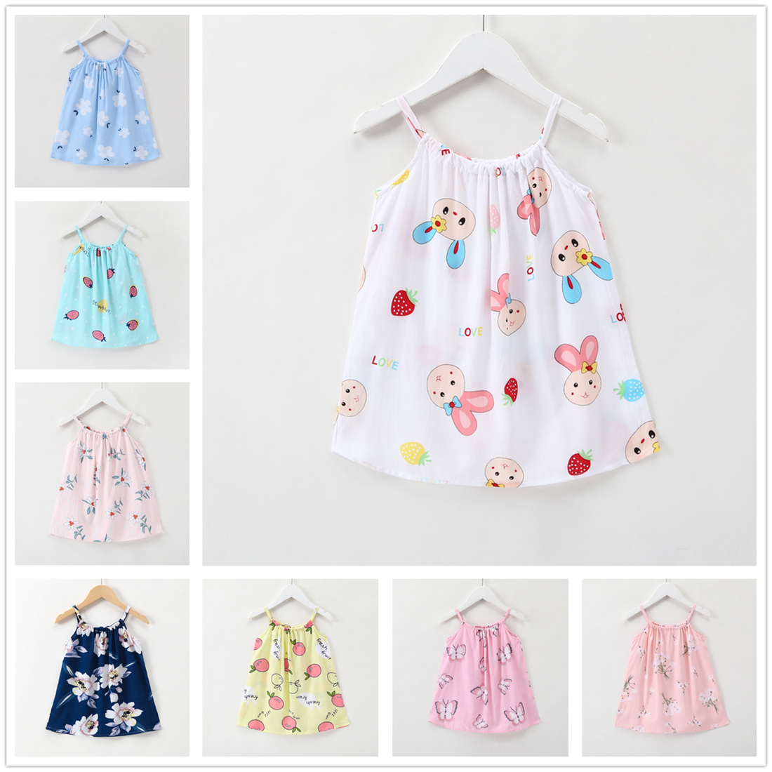 1-6Y Toddler Girl Dress White Summer Birthday Clothes Cute Princess Girl Dress Kids Girls Clothing Cartoon Rabbit Baby Dress spring new princess kids toddler girl denim dress kid little girl suspender dress baby clothes mermaid dress free drop shipping