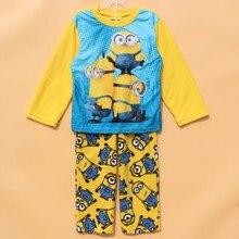 Children pajamas kids minions long sleeve pajamas set yellow color fleece sleepwear kids Christmas clothing