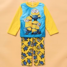 Children pajamas kids minions long sleeve pajamas set yellow color fleece sleepwear kids Christmas clothing