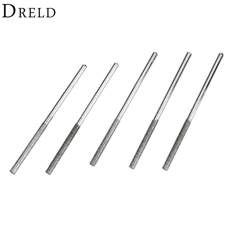 5Pcs/lot Dremel Accesories Mini Drill Diamond Grinding Head 3mm Shank Bur Bit Set Grinding Tool For Dremel Rotary Tool Polishing