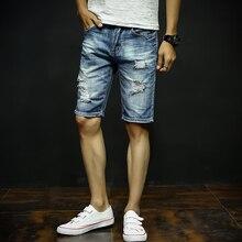 Mens Denim Shorts 2-17 New Summer Regular Casual Knee Length Short Bermuda Masculina Hole Jeans Shorts For Men 226