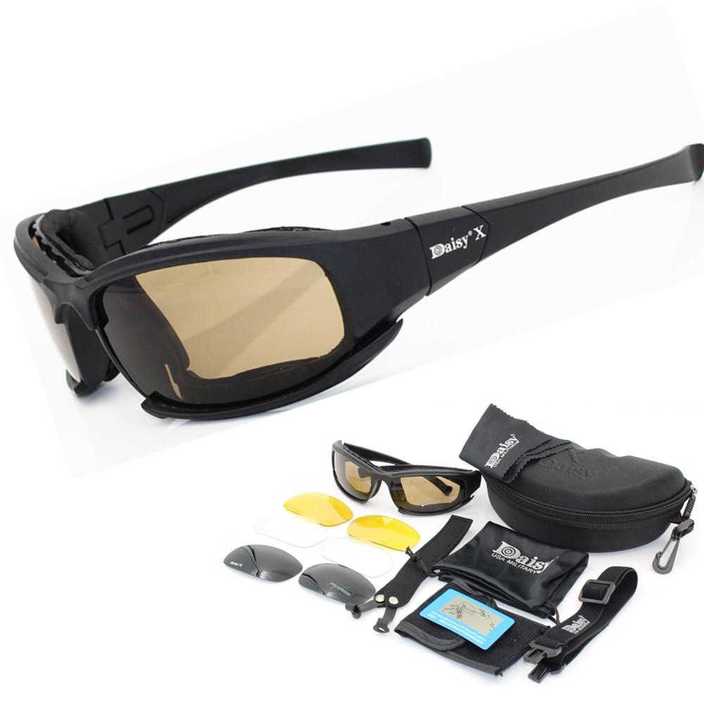 Prix pour Daisy X7 Militaire Lunettes pare-balles Armée Polarisées lunettes de Soleil 4 Lentille Hommes Chasse Tir Airsoft Tactique Lunettes C5