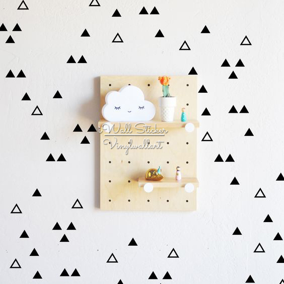 Cute Triangles Wall Sticker Baby Nursery Triangles Wall Decal Hollow Triangles Wall Decor Easy Wall Art Cut Vinyl P41