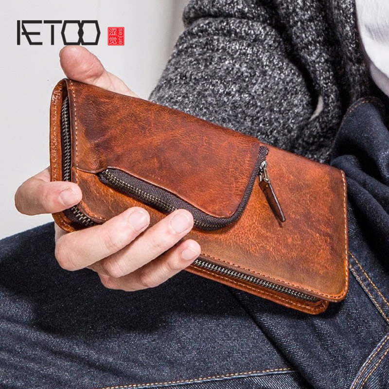 AETOO Mens long wallet leather zipper multifunctional wallet mens retro cowhide personality handbag Mobile WalletAETOO Mens long wallet leather zipper multifunctional wallet mens retro cowhide personality handbag Mobile Wallet