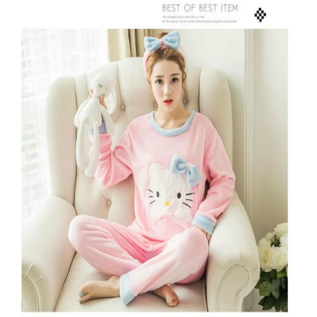 Mulheres dos desenhos animados pijamas define 2017 algodão outono & inverno manga comprida camisola conjuntos de pijama meninas hello kitty roupas de estilo