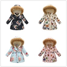 2019 Winter Girls Down Jackets Fleece Children Coat Hooded Outfits Flower Baby Girl Outerwear Clothes Kids Overcoat Windbreaker