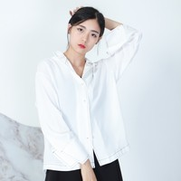 Free Shipping Autumn Women Blouses Long Sleeve Girl Shirts High Quality Polyester Tops Turn Down Collar