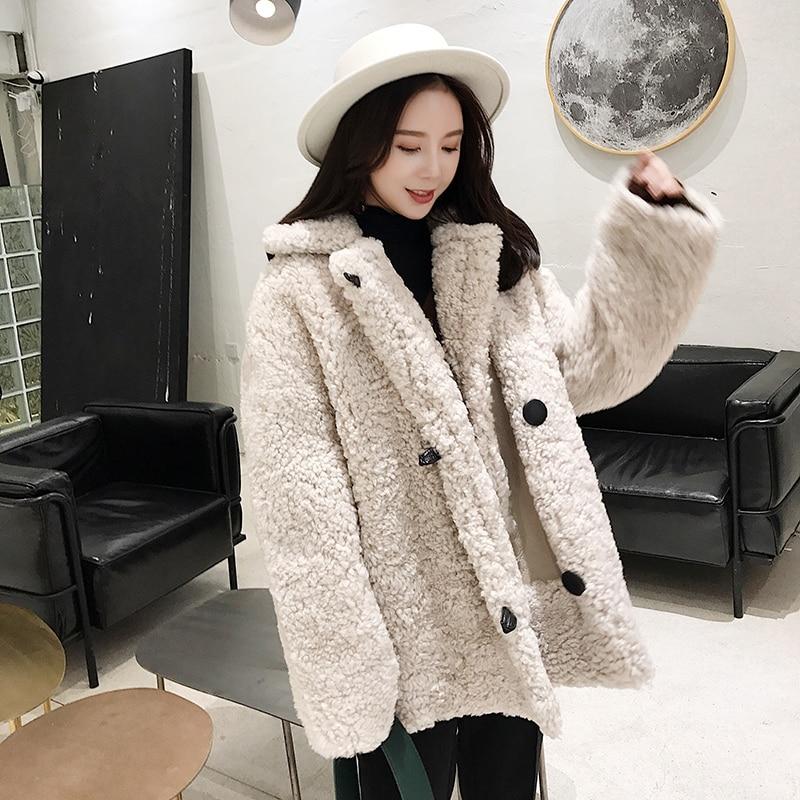 Chaud Réel Fourrure Vêtements Épais 90103b Des Moutons Mode De Conception Qualité Femme Beige Bonne Npi Femmes Hiver Naturelle Tonte Grey Manteau wXrXfqg