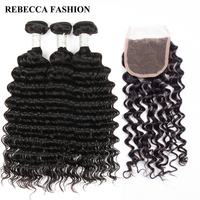 Rebecca Brazilian Deep Wave 3 Bundles With Closure 1 Pack For Hair Salon Remy Human Hair