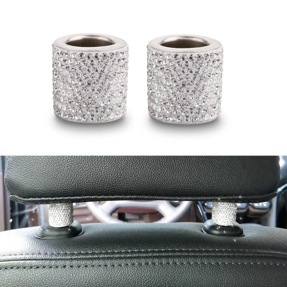 Universal 1pcs Crystal Car Seat Headrest Collar Decor Charms Diamond Bling Car Interior Accessories For Women Rhinestone