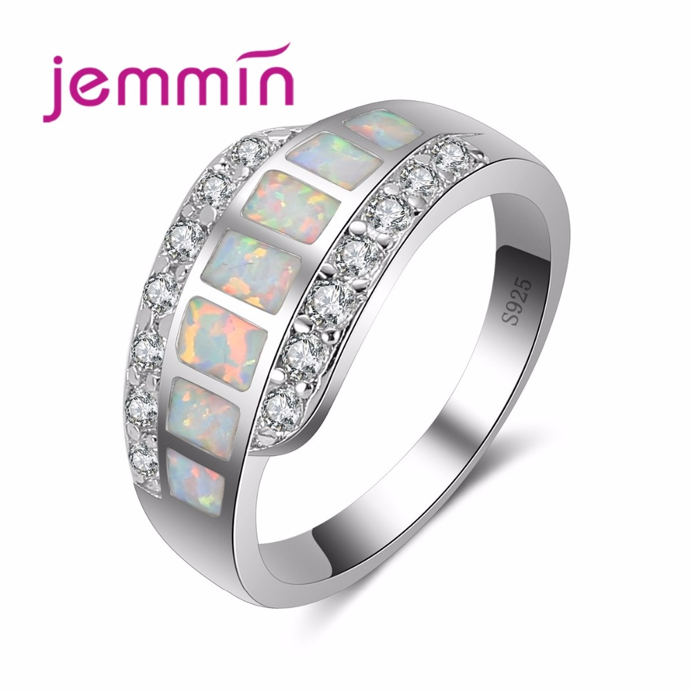 Jemmin Fine Silver Rings For Women White Fire Square Opal Ring 925 Sterling Silver Jewelry Wedding Engagement Ring Size 6 7 8 9Jemmin Fine Silver Rings For Women White Fire Square Opal Ring 925 Sterling Silver Jewelry Wedding Engagement Ring Size 6 7 8 9