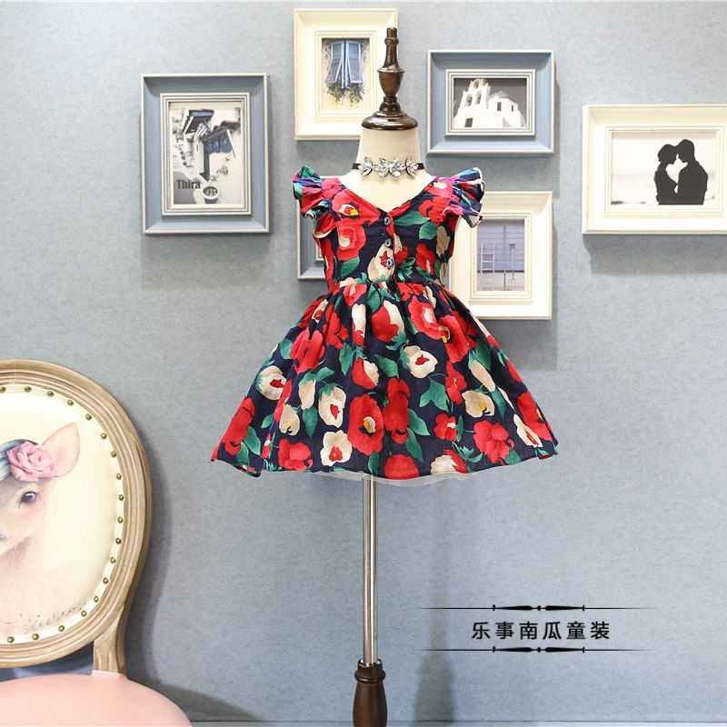 Princess Bow Tied Clothes Summer Sleeveless Flower Floral Clothing Wholesale Children Girls Baby V-Neck Ruched Dresses 5pcs/LOT