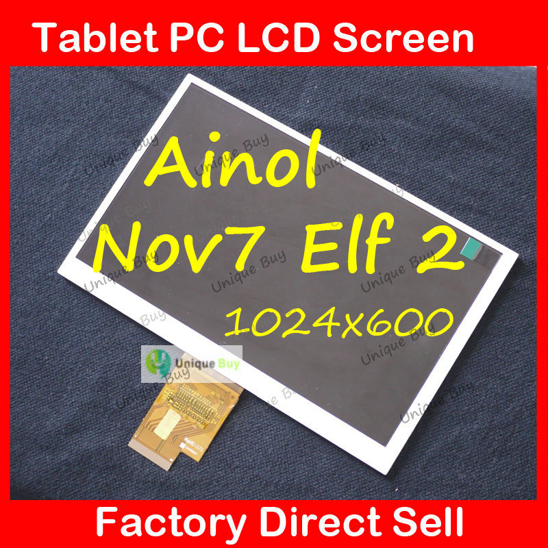 Wholesale 7 TFT LCD Screen Replacement for ainol Novo7 elf 2 Tablet PC novo7 elf2 LCD 1024*600 tft lcd replacement module for nds lower screen