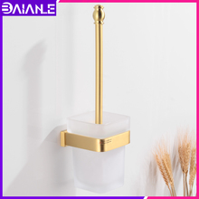 Toilet Brush Holder Brass Creative Bathroom Clean Cleaning Brush Wall Mounted Accessories Bathroom Toilet Brush Set Glass Cup