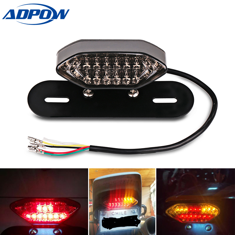 12v Universal  Motorcycle Led Tail Light With Turn Signal Rear Brake Taillight Motorbike License Plate Tail Lamp