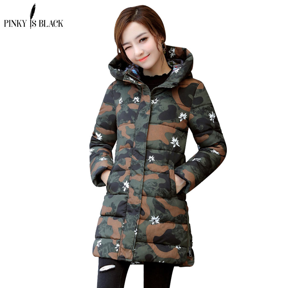 Pinky Is Black 2017 Winter coat women outerwear female wadded jacket medium-long parkas winter women warm cotton-padded jacket linenall women parkas loose medium long slanting lapel wadded jacket outerwear female plus size vintage cotton padded jacket ym