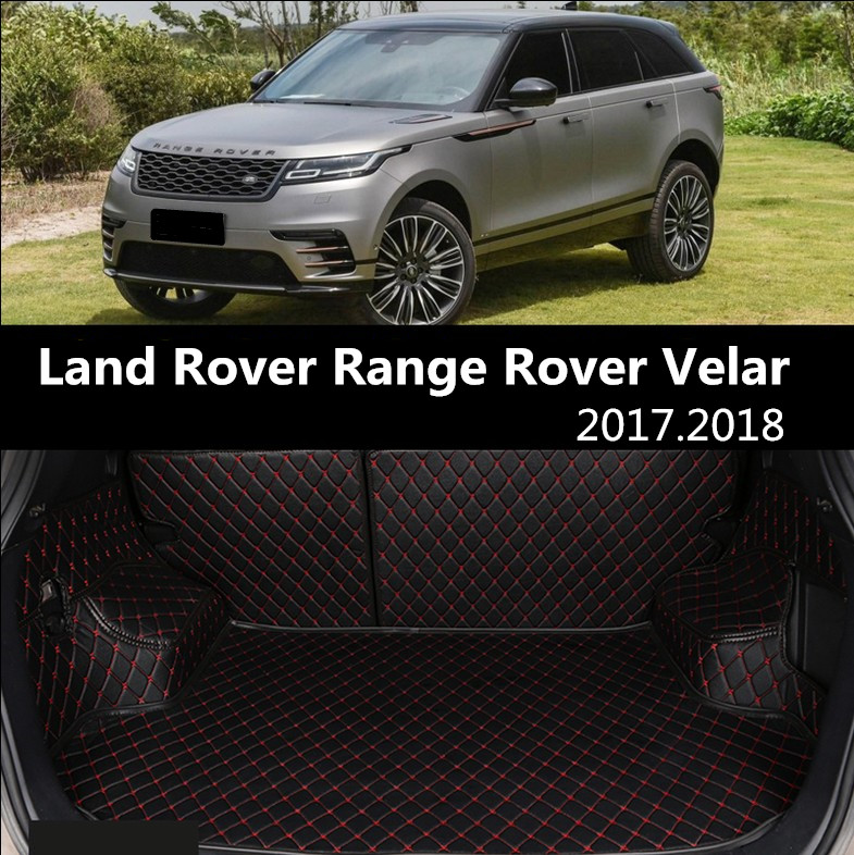 For Land Rover Range Rover Velar 2017.2018 Full Rear Trunk Tray Liner Cargo Mat Floor Protector Foot Pad Mats Embroidery Leather