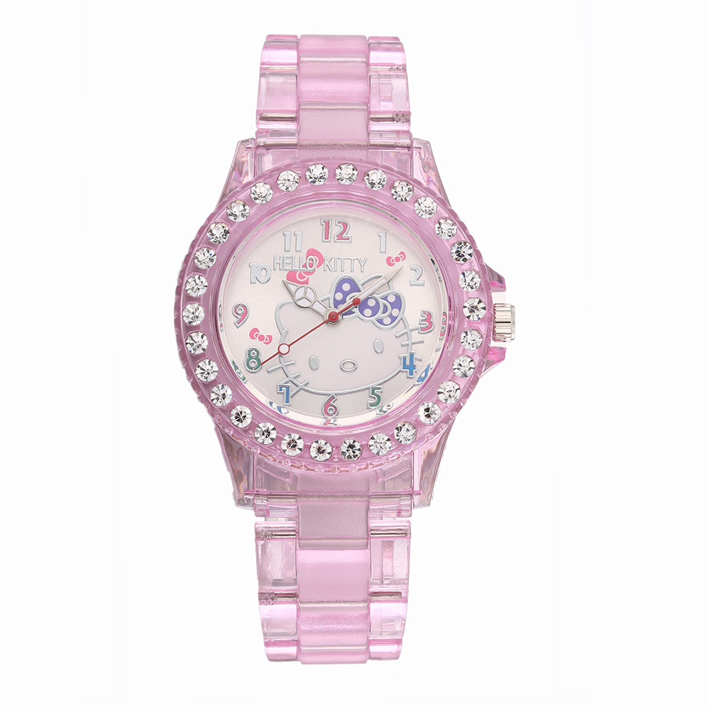 Pink Lovely Hello Kitty Women Watches Fashion Cartoon Cat Girl Clock Montre Femme Rejores Rhinestone Ladies Watch Dress Silicone