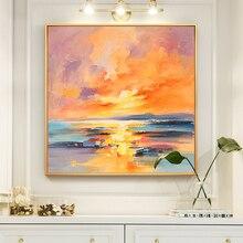 100% Hand Geschilderd Abstract Instelling Zon Olieverfschilderij Wall Art Frameloze Foto Decoratie Voor Live Room Home Deco gift