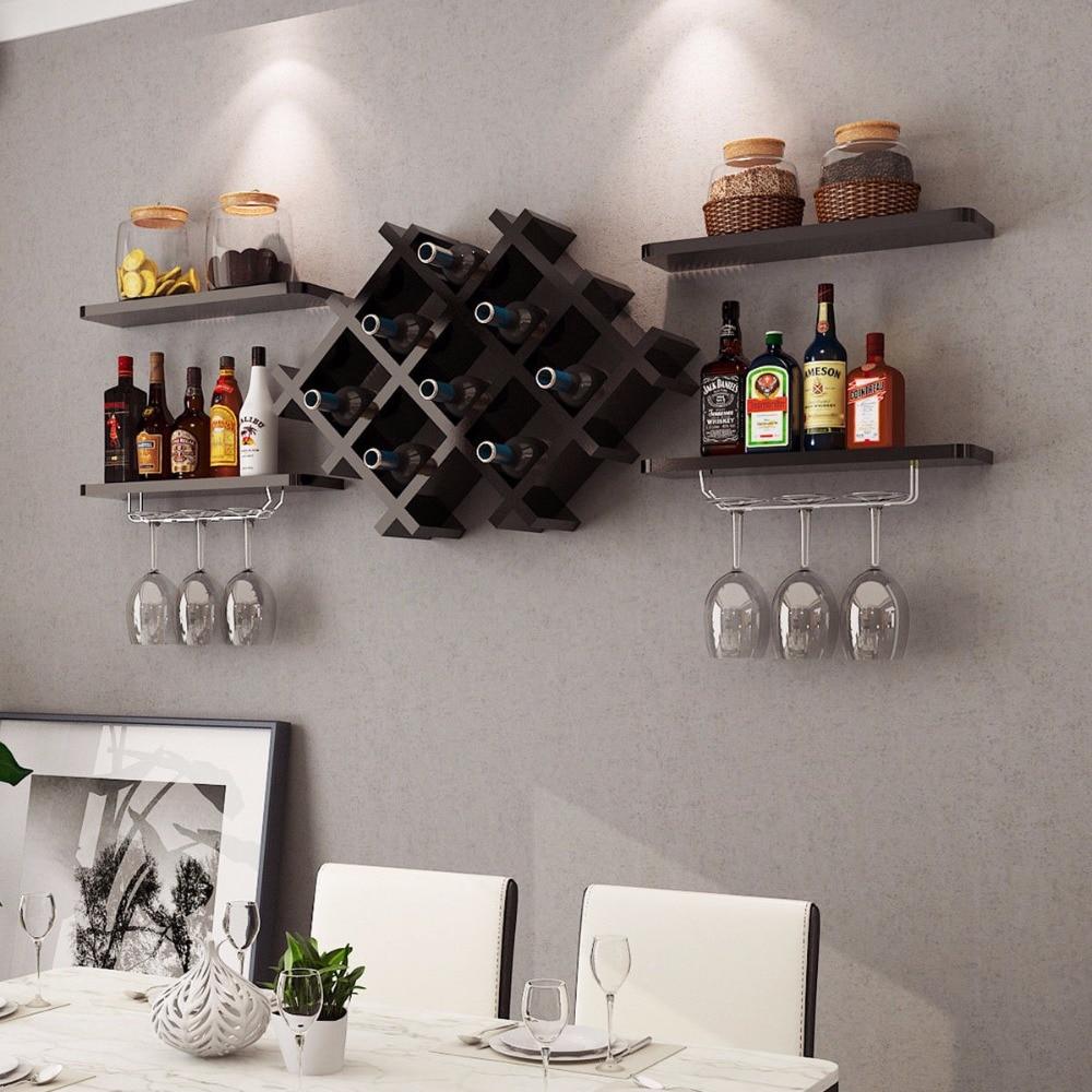 Goplus Set Of 5 Wall Mount Wine Rack Set W Storage